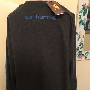 Men's NWT Carhartt t-shirt, gray with blue, large